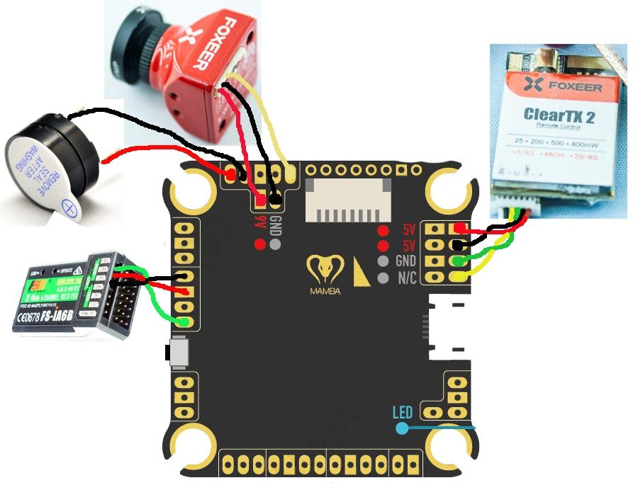 схема подключения к полетному контроллеру Mamba F405 mkII