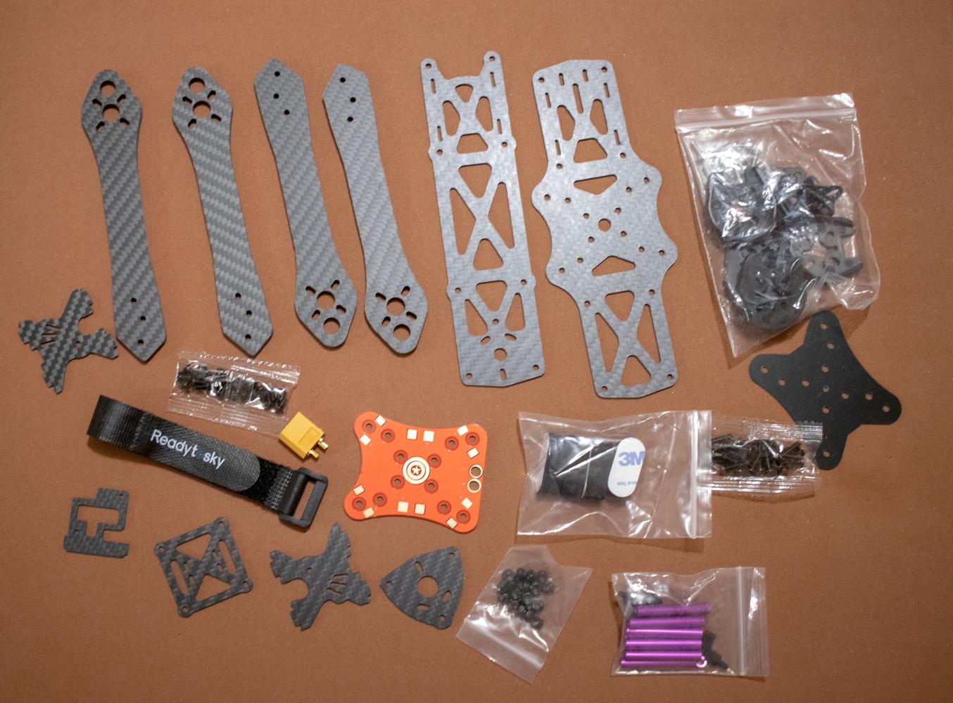 Комплект деталей для сборки рамы квадрокоптера Martian II