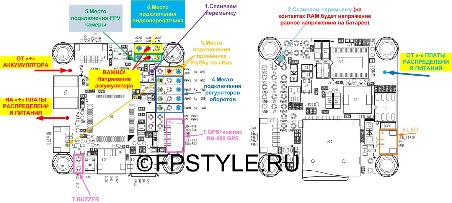 Схема подключения к OMNIBUS F4 PRO V3